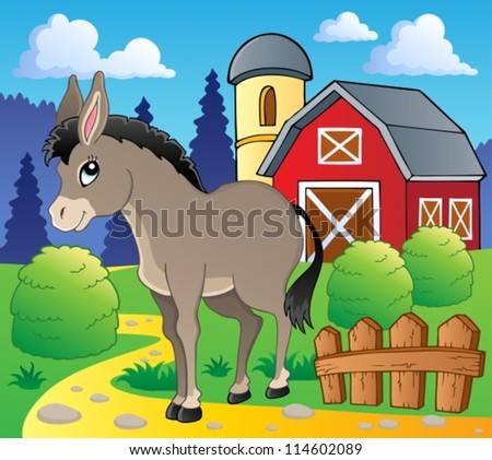 Donkey theme image 2 - vector illustration. - stock vector