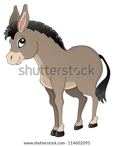Donkey theme image 1 - vector illustration. - stock vector