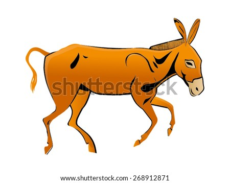 Donkey vector drawing  - stock vector