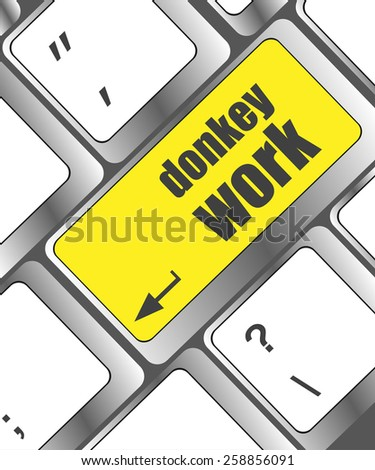 donkey work button on computer keyboard key - stock vector