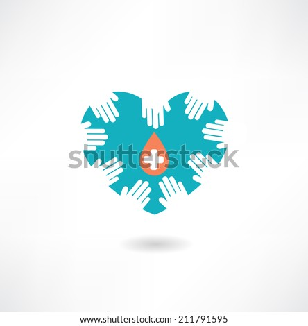 Donor hands holding a heart with a drop icon - stock vector