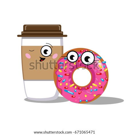 Donut and coffee in love sticker cute cartoon food emoticon vector illustration cute happy
