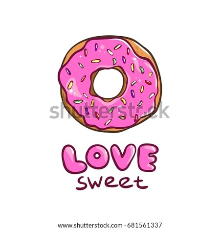 Donut card sweet love lettering poster sticker
