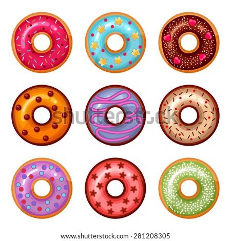 Donut icon set - stock vector