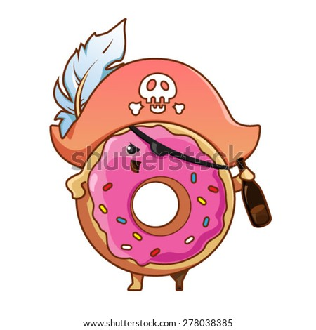 Donut pirate - stock vector