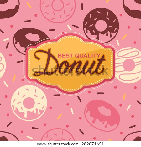 Donut poster with seamless background with donut icons - stock vector