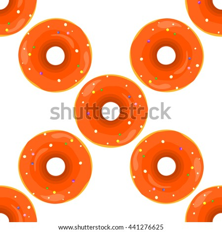 Donut seamless background texture pattern. Cute donuts with glazing. Seamless pattern. Chocolate donuts. Isolated donuts seamless pattern - stock vector