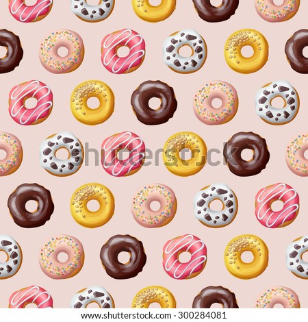 Donut seamless pattern. Vector illustration - stock vector