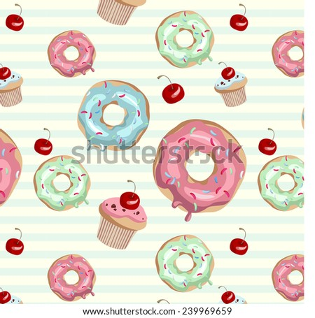 Donuts background - stock vector