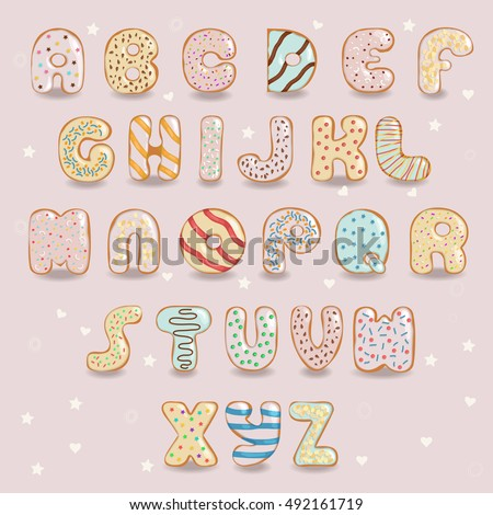 Donuts font. Artistic alphabet. Signs as white chocolate donuts with colorful cream. Vector illustration