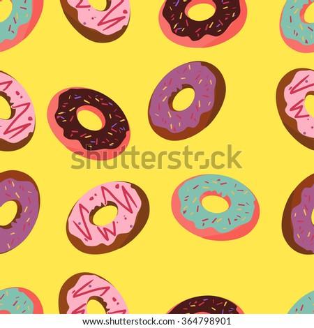 Donuts in glaze. Pattern - stock vector