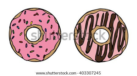 Donuts on a white background. Donuts logo. Vector picture with two donuts. Sweets. Illustration on white background. Restaurant menu booklet design vector. The cafe template with hand drawn graphics. - stock vector