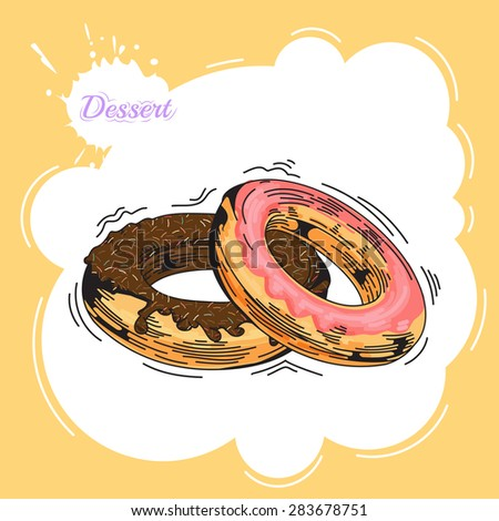 Donuts. Poster in vintage style. Bakery advertisement design template. Baking the best pastry food poster template with donuts vector illustration - stock vector