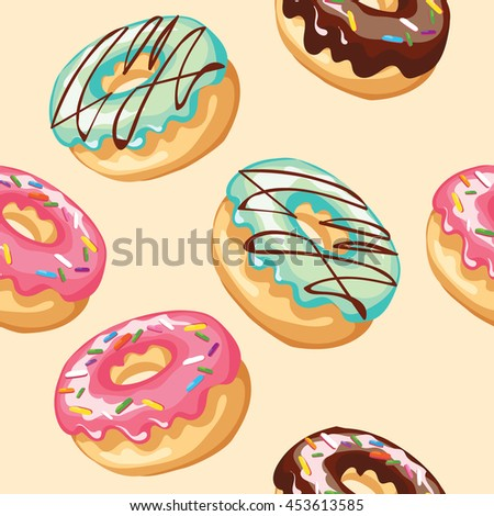 Donuts seamless pattern - stock vector