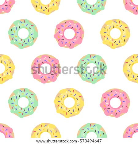Donuts Seamless Pattern On White Background Cute Sweet Food Baby Colorful Design For