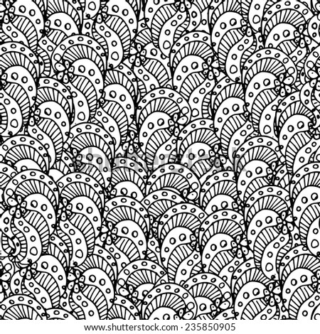 Doodle abstract floral seamless pattern - stock vector