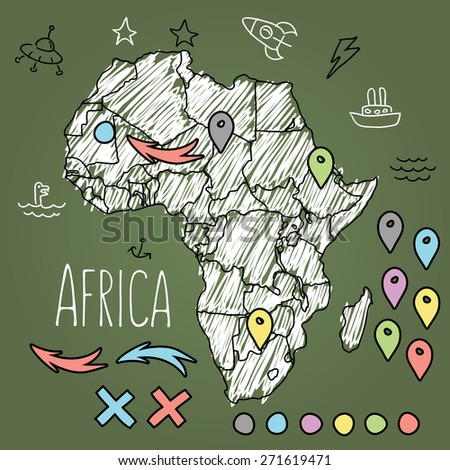 Doodle Africa map on green chalkboard with pins and extras vector illustration - stock vector