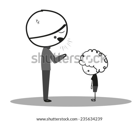 Doodle angry father to son - stock vector