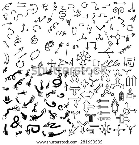 Doodle arrow icons set with spiral, square, circle and triangle directions, shapes . White background. Vector Illustration. - stock vector