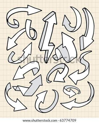 doodle arrows - stock vector