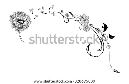 doodle art Dandelion flower and bird - stock vector