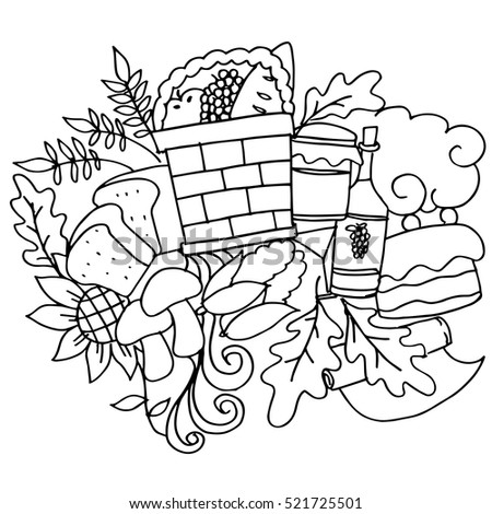 Doodle art hand draw thanksgiving vector illustration