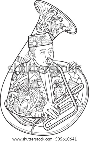 Doodle Art Indonesian Culture Traditional Music