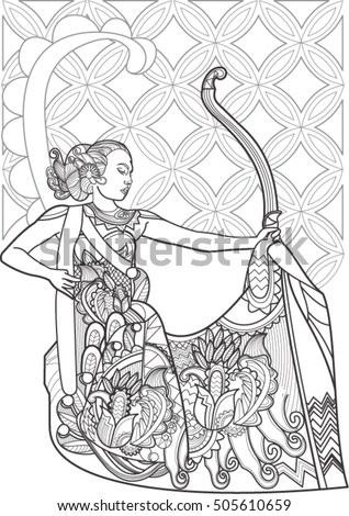 Doodle Art Indonesian Culture Woman Dance