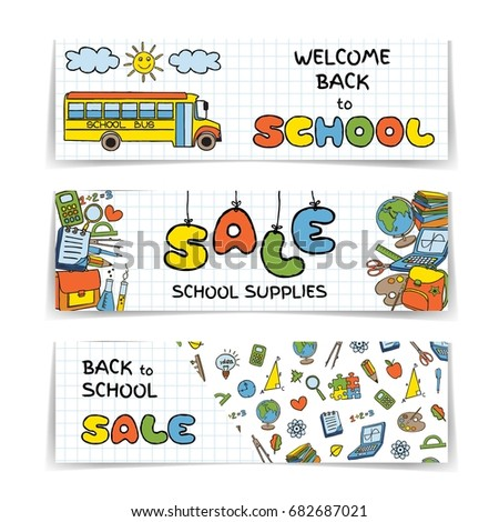 Doodle Back School SALE Banners Set Stock Vector HD Royalty Free