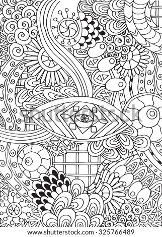 Doodle background in vector with doodles, flowers and paisley. Vector ethnic pattern can be used for wallpaper, pattern fills, coloring books and pages for kids and adults. Black and white. - stock vector