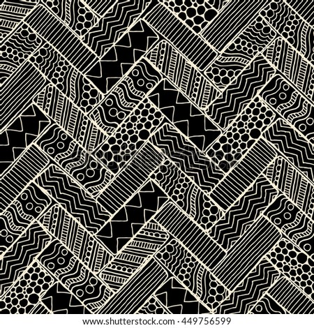 Doodle background pattern. Made by trace from sketch. Black and white background.