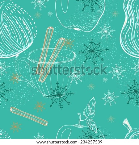 Doodle background with apple, pear and snowflakes, seamless winter pattern - stock vector