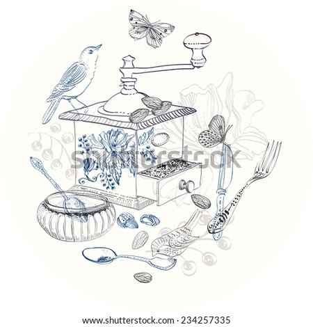 Doodle background with coffee mill, flowers and birds over white - stock vector