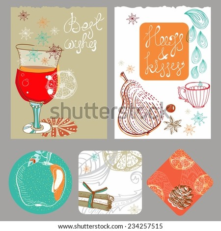 Doodle background with mulled warm wine and fruits, Christmas traditional drink, different banners for Holiday design - stock vector