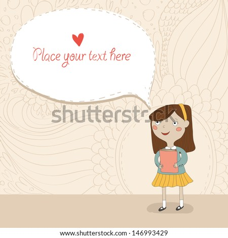 Doodle background with schoolgirl and place for your text - stock vector