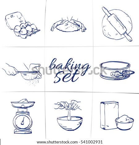 Doodle Baking Set Egg Steps Roll Stock Photo Photo Vector