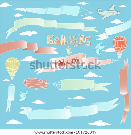 Doodle Banners and Ribbons - Set of silky hand drawn banners and ribbons carried by the planes, hot air balloons and blimps - stock vector