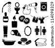 doodle bathroom images - stock vector