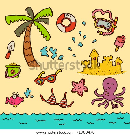 Doodle Beach. A fun doodle set of beach-related items. - stock vector