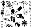 doodle beach images - stock vector