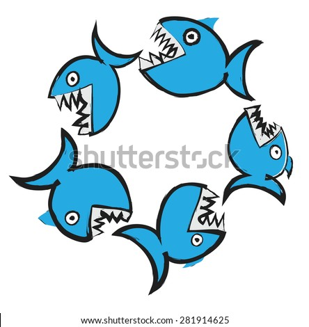 doodle big fish eating up  smaller, vector illustration - stock vector