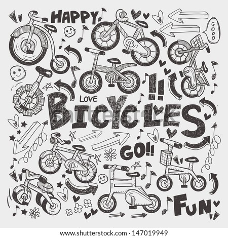doodle bike element - stock vector