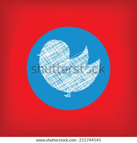 Doodle bird icon in blue circle on red background. Social network bird icon. Concept of news, blogs, communication and other information - stock vector