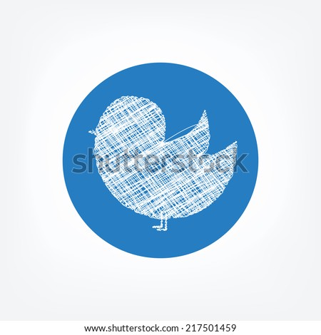 Doodle bird icon in blue circle on white background. Social network bird icon. news, blogs, communication and other information - stock vector