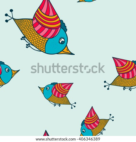 Doodle Bird vector image, seamless texture light blue tone blue bird painted patterns, red orange tone blue background - stock vector