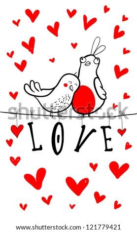 Doodle birds couple among hearts. - stock vector