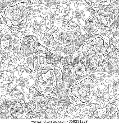 Doodle black and white abstract hand-drawn background. Wavy seamless pattern. - stock vector