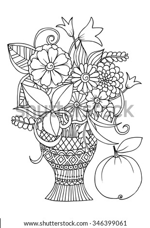 Doodle black and white vase of flowers for coloring - stock vector