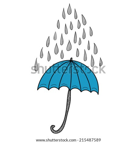 Doodle blue umbrella and grey raindrops on white background - stock vector