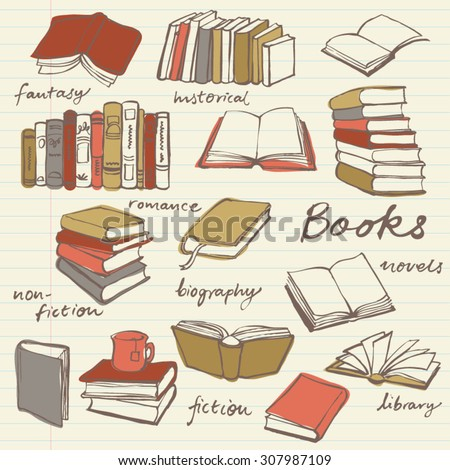 Doodle book collection - vector illustration - stock vector